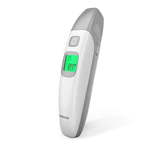 JUMPER FR408 Stirnthermometer Ohrthermometer Infrarot Fieberthermometer mit Genauer Lesung Fieberalarm Speicher, Geeignet für Babys Kinder & Erwachsene (Silver)