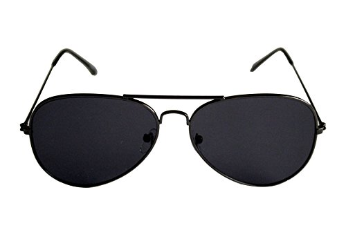 Nuevo Unisex aviador gafas de sol negro estructura metálica modelo antirreflectante antideslumbrante Nº 9620 P (Lente negro marco