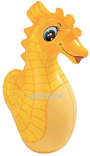 Kritech Inflatable Blow Up 3D BOP Wrestle Sand Filled Punch Punching Boxing Bag Animal Shape of Seahorse for Kids Toy Game