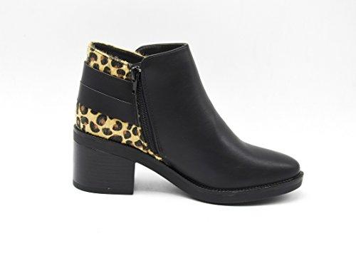 SHF13 * Bottines Low Boots à Talon avec Motif à l'Arrière et Bandes Croisées - Mode Femme Léopard