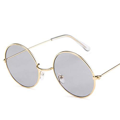 TYJDQXX Frauen Männer Runde Sonnenbrille Steampunk Shades Multicolor Gradient Mirror Lens Goggles Vintage SonnenbrilleGrau