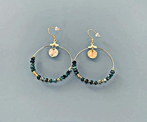 Orecchini creoli bohémien con francobolli e perle, gioielli da donna, creoli d'oro, gioielli in oro, gioielli regalo, regalo da donna, gioielli bohémien