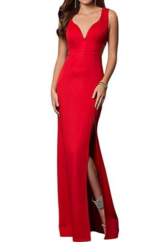 ivyd ressing Femme simple fente col V satin longue promke Lave-vaisselle à paupières robe robe du soir Rouge