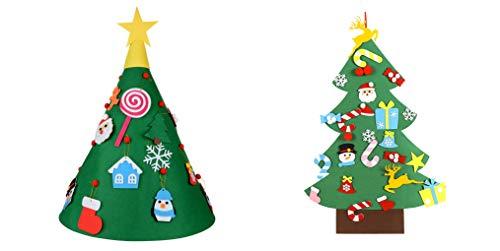 3ft Artificiale Albero di Natale Albero di Natale in feltro fai da te Set di attaccapanni da parete con decorazioni staccabili,3D Stand Felt Tree con 18psc Gadget Decorativo per Vacanze di Natale (B1)
