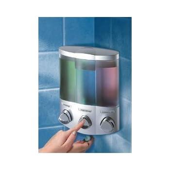3 fach Dreifach Wand Seifenspender Shampoo Spender Chrom