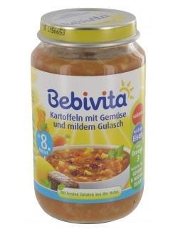 Bebivita - Kartoffeln mit Gemüse und mildem Gulasch Babynahrung Babybrei Glas ab 8. Monat - 220g