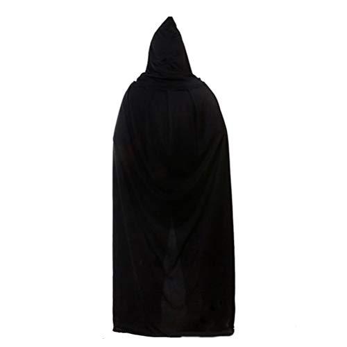 Amosfun Halloween Umhang Hooded Vampire Cosplay Long Cape Schwarz Cosplay Kostüm Hooded Death Cloak Maskerade Party Cape Kostüm 135cm