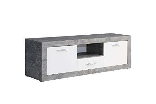 NEWFACE  TV-Unterschrank, Holz, Beton Optik/Weiß, 147.80 x 41 x 49.90 cm
