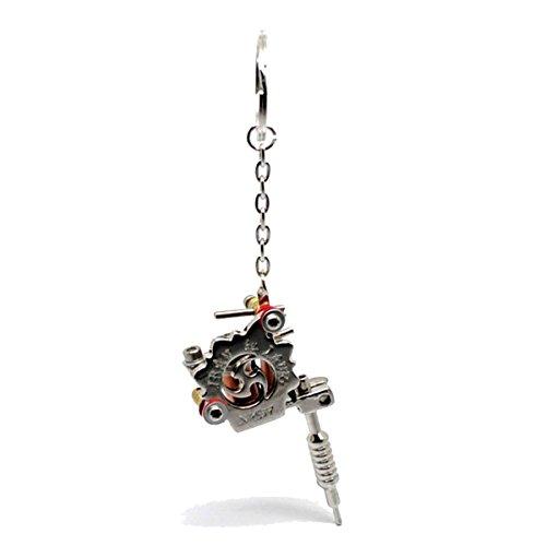 Queenbox®Mini-Metall Tattoo Kit Maschinen Gun Schlüsselbund Tätowierung Eisen Modell Keychain - C (Kit Tätowierung)