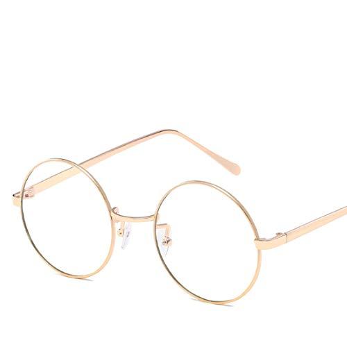 Mkulxina Anti-Blue-Light-Brille Retro Runde Metall Unisex Flache Brillen für Frauen Männer (Color : Gold, Design : Clear Lens)