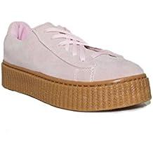 PRIMAR Shoes - ILENIA Goma Alta 22001 Zapatillas Urbanas para Mujer Rosa Camel Plataforma Casual Moda