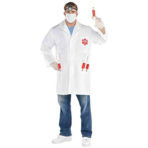 Kostüm Arzt Namen Für - shoperama 7-teiliges Herren Arzt Kostüm Dr. Hot Shot Kittel Mundschutz Spritzen Stirnlampe Doc Doktor Chirurg JGA, Größe:XXL - 56