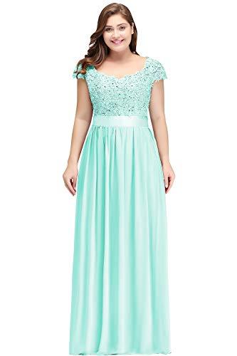 Misshow Plus Size Dresses for Women Abendkleider 50 Aus Chiffon Spitze Damen Abendkleider Lang