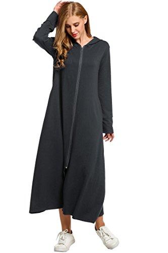 Baumwolle Lange Ärmel Robe (Tomasa Damen Morgenmantel Bademantel Langarm Nachtwäsche Maxi Kleider mit Kapuze vorner Reißverschluss Lose Kapuzenkleid Robe)