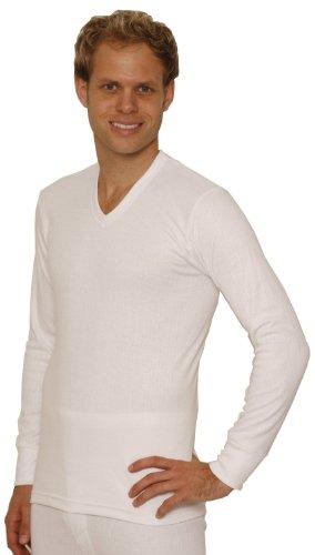 OCTAVE® Herren Thermo-Unterwäsche Long Sleeve 'V' -neck T-Shirt/Weste/Top XXL weiß (Thermal Long Lange Sleeve Unterwäsche)