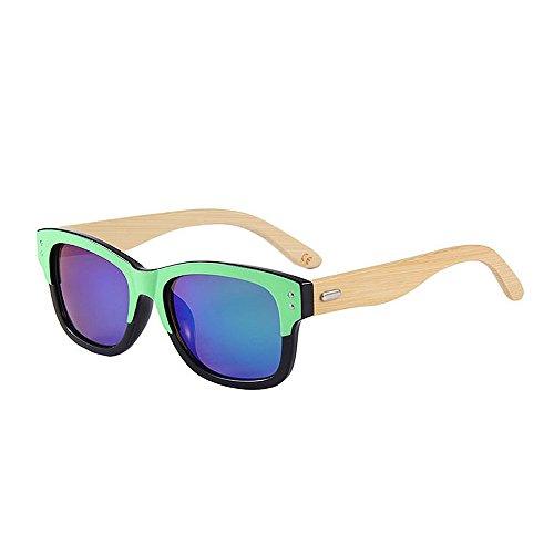 Einfache Brille Double Colour Retro Style Unisex-Erwachsene Bambus Sonnenbrille UV-Schutz Handmade für Männer Frauen (Farbe : Grün)