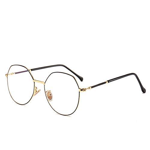 Yangjing-hl Unregelmäßiger Rahmen Brille Retro Brille Rahmen C Gold Punkt schwarzer Rahmen