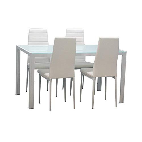 EBS Conjunto de Muebles Juego de Comedor Sillas de Piel Sintética Mesa de Cristal con Patas de Metal - Blanco/4 Sillas y una Mesa