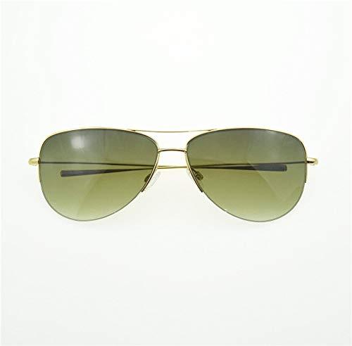 LKVNHP Hochwertige Sonnenbrille Reine Titanium Sonnenbrille Männer Super Licht 12G Unisex Marke Halbrandlose Sonnenbrille Männer Gold VsGrün