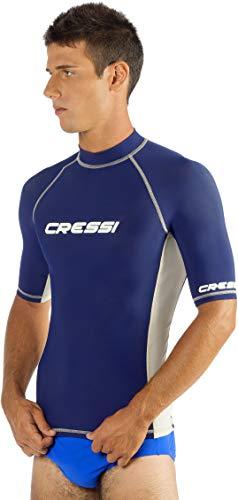Cressi Rash Guard/Schwimm-Oberteil für Herren, zum Schutz vor Schürfwunden, zum Schwimmen, Surfen, Tauchen, mit Sonnenschutz   kurzärmlig, Qualität seit 1946, Herren, US060006, blau, XXL