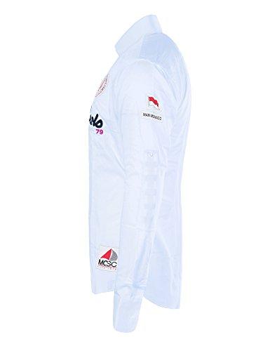 M469 WAM DENIM Herren Slim Fit Polo Club Shirt Hemd Langarm Figurbetont Clubwear Hellblau