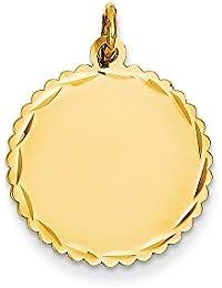 Diamond2deal - Colgante de Oro Amarillo de 14 Quilates, Calibre 027, grabable, diseño de Disco Festoneado