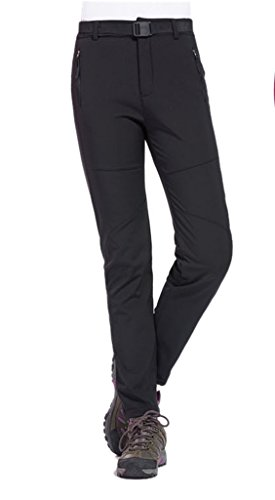 Geval pantaloni outdoor impermeabile antivento softshell in pile neve sci donna(m,nero)
