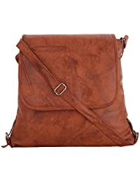 CFI Tan Synthetic Leather Sling Bag For Women / Girls