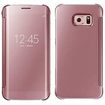 Galaxy S6 Edge Plus, LEKESI Espejo de Lujo Clear View Case Cubierta Protección Total para Samsung Galaxy S6 Edge Plus (Oro Rosa)