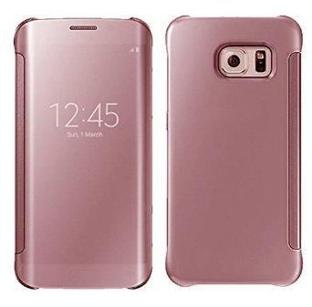 Galaxy S6 Edge, LEKESI Espejo de lujo Clear View Case Cubierta Protección...