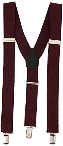 Burton Menswear London Herren Textured Braces Hosenträger, Rot (Burgundy 015), Einheitsgröße