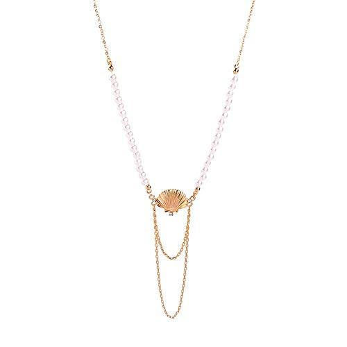 WY-EHSP Legierung Diamant anhänger Urlaub Fan Glocke weibliche Lange perlenkette,Metallic -