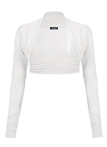 Damen Schulterzucken Plain langen Ärmeln Viskosejersey Bolero (Schulterzucken Weiß)