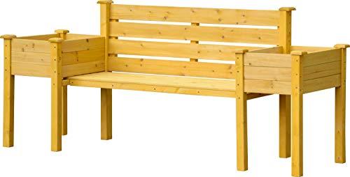 dobar Gartenbank mit seitlichen Pflanzkästen, Sitzbank und Pflanzkübel Kombination, Hellbraun, 211 x 64 x 92 cm