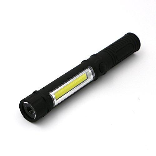 Notfall-licht-kit (eizur COB Arbeitsleuchte Taschenlampe Tragbare Mini Hand Taschenlampe Flutlicht Licht Mit Clip Und Magnetischem Boden Handlampe für Notfall Kit Werkstatt Camping Wandern Angeln batteriebetrieben, schwarz)