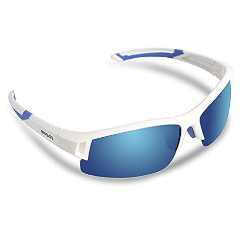RIVBOS RBS841 TR90 Polarisierter Sport Sonnenbrille für Herren und Damen Skifahren Golf Laufen Radsport Superleichtes Rahmen Weiße Eis blaue Linse