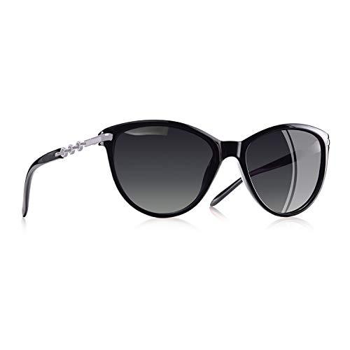 AOFLY Übergröße Mode Polarisierte Katzenbrille Sonnenbrille für frauen Gradientenlinse Metallrahmen Brillenartikel, Schwarz Rahmen/Grau Linse-1