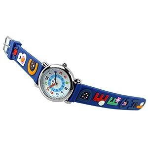 Alpha Saphir Kinderuhr analog Uhr blau Armbanduhr Edelstahl Quarzuhr Kunststoffband 394C