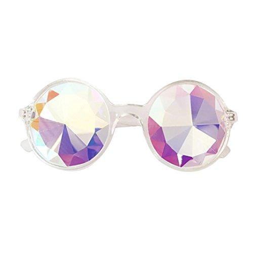 TUDUZ Kaleidoskop Gläser Rave Fasching Party EDM Blinkend Sonnenbrille Beugungslinse (Weiß-A)
