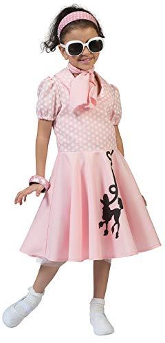Fancy Me Kostüm für Mädchen, 50er-Jahre, Pudel-Kostüm, (50er Jahre Pudel Kleid Kostüm)