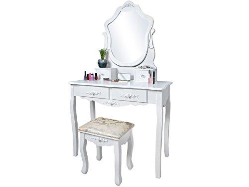 MALATEC Elegante tocador Espejo + Taburete Estilo