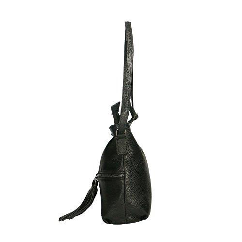 Frau Schultertasche in echtem Leder Made in Italy Chicca Borse 30x25x10 Cm Schwarz