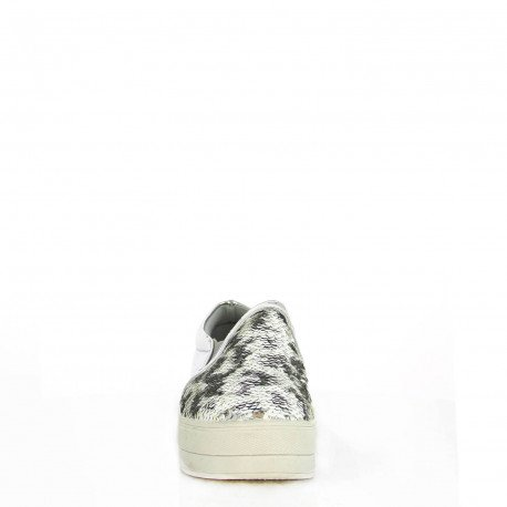 Ideal Shoes - Slip-on verni et incrusté de sequins Paulina Argent