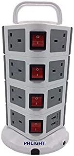 وصلة كهربائية عامودية مكونة من 4 طبقات و11 مخرج مع منفذي USB، بلون اسود، رقم الموديل 714
