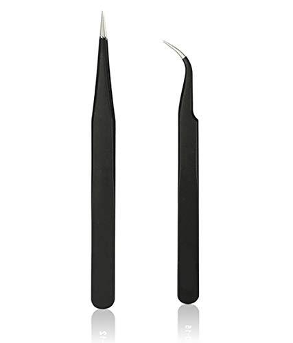 Carry stone Pinzette Präzise ESD 2 stücke Medizinische Erwachsene Edelstahl Extrem Feine Lieder Und Spitze Ping Antistatische Nagel Augenbraue Praktisch Für Schmuck Uhren