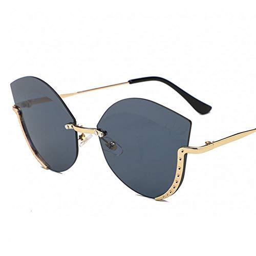 Wenkang Farbverlauf Cat Eye Sonnenbrille Frauen Männer Gold Metallrahmen Schneidelinse Sonnenbrille Damen Eyelash Sunglass Shades,1