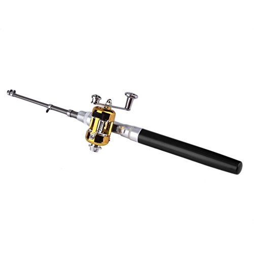 Mini-Angelrute, Aluminium-Legierung, Angel-Stift von Sunshine D, tragbare Teleskop-Angelrute mit Winde, schwarz