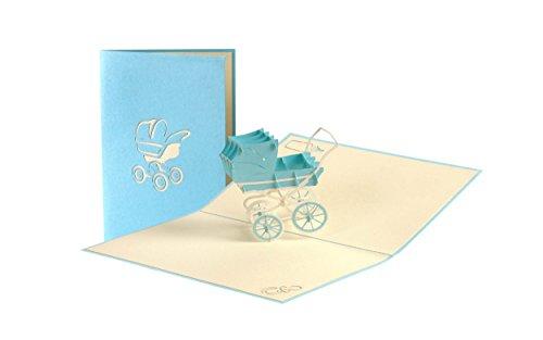 Pop Up Karte mit blauem Kinderwagen aus Papier, Glueckwunschkarte zur Geburt, Baby Shower Boy G13.2