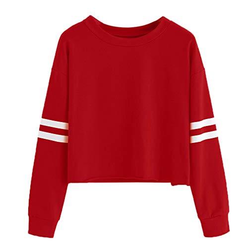 TUDUZ Damen Elegante Langarm Rundhals Sweatshirt Bluse Tops Oberteile (XXL,Rot)
