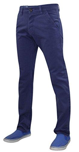 Nouveau Hommes Kushiro Ville chino 100% coton Slim Fit Casual Jeans Deep Cobalt